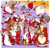 Christmas santa group cartoon vector illustration