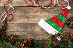 Christmas Santa hat flat lay backgrounds Royalty Free Stock Photo