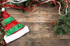 Christmas Santa hat flat lay backgrounds Stock Photos