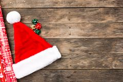 Christmas Santa hat flat lay backgrounds Royalty Free Stock Images