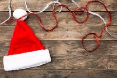 Christmas Santa hat flat lay backgrounds Royalty Free Stock Photography