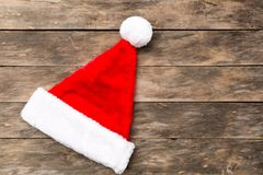 Christmas Santa hat flat lay backgrounds Royalty Free Stock Image