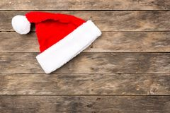 Christmas Santa hat flat lay backgrounds Stock Image
