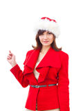 Christmas Santa hat  girl portrait . Woman Stock Images
