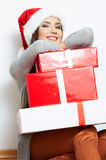 Christmas Santa hat isolaed woman portrait hold christmas gift Royalty Free Stock Photography