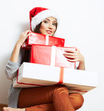 Christmas Santa hat isolaed woman portrait hold ch Royalty Free Stock Image
