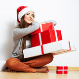 Christmas Santa hat isolaed woman portrait hold christmas gift Stock Images