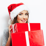 Christmas Santa hat isolaed woman portrait hold ch Stock Image