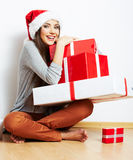 Christmas Santa hat isolaed woman portrait hold ch Royalty Free Stock Images