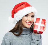 Christmas Santa hat isolated female portrait. Woman Santa. Chri stock images