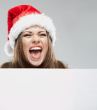 Christmas Santa hat isolated woman portrait. Stock Image