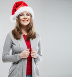 Christmas Santa hat isolated woman portrait. Stock Photography