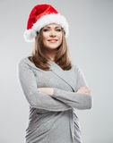 Christmas Santa hat isolated woman portrait. Royalty Free Stock Photography