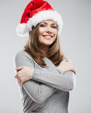 Christmas Santa hat isolated woman portrait Royalty Free Stock Images