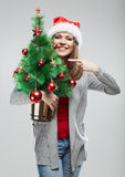 Christmas Santa hat isolated woman portrait. Royalty Free Stock Photos