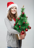 Christmas Santa hat isolated woman portrait. Stock Images