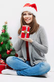 Christmas Santa hat isolated woman portrait hold c Royalty Free Stock Image