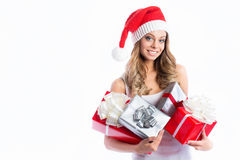 Christmas Santa hat isolated woman portrait hold christmas gift. Stock Image