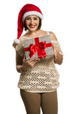 Christmas Santa hat isolated woman portrait hold christmas gift. Royalty Free Stock Images