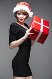 Christmas Santa hat isolated woman portrait Royalty Free Stock Photography