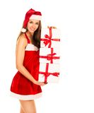 Christmas Santa hat isolated woman portrait Stock Photography
