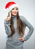 Christmas Santa hat isolated woman portrait hold wine glass Royalty Free Stock Photos