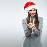 Christmas Santa hat isolated woman portrait hold wine glass Royalty Free Stock Photography