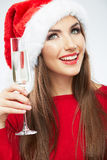 Christmas Santa hat isolated woman portrait hold wine glass. Royalty Free Stock Photo