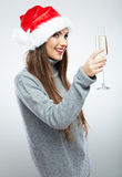 Christmas Santa hat isolated woman portrait hold wine glass Stock Photo