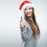Christmas Santa hat isolated woman portrait hold wine glass Royalty Free Stock Photo