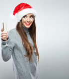 Christmas Santa hat isolated woman portrait hold wine glass Stock Images