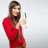 Christmas Santa hat isolated woman portrait hold wine glass Stock Image