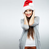 Christmas Santa hat isolated woman portrait . royalty free stock image