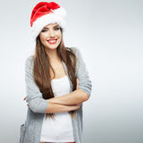 Christmas Santa hat isolated woman portrait . Stock Image