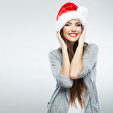 Christmas Santa hat isolated woman portrait . Royalty Free Stock Images