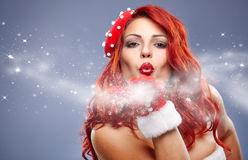 Christmas Santa hat redhair woman portrait . Stock Photos