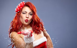 Christmas Santa hat redhair woman portrait . Royalty Free Stock Photography