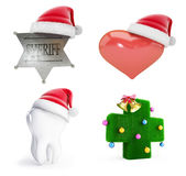 Christmas santa hat set 3D illustration. Christmas santa hat set on a white background 3D illustration, 3D rendering Royalty Free Stock Photo