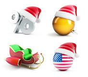 Christmas santa hat set on a white background 3D illustration,. 3D rendering Royalty Free Stock Image