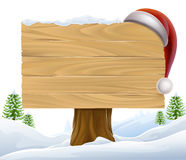 Christmas Santa Hat Snow Sign Stock Photography