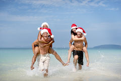 Christmas Santa Hat Vacation Travel Beach Concept royalty free stock image