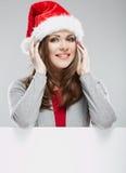 Christmas Santa hat  woman portrait. Stock Images