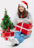 Christmas Santa hat  woman portrait hold christmas Royalty Free Stock Images