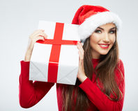 Christmas Santa hat  woman portrait hold christmas gift. Stock Photography