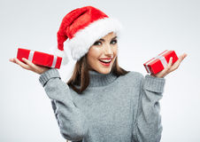 Christmas Santa hat  woman portrait hold christmas Stock Images
