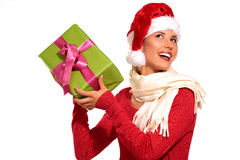 Christmas Santa hat  woman portrait hold christmas gift Royalty Free Stock Photography