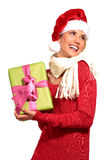 Christmas Santa hat  woman portrait hold christmas gift Stock Photography