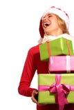 Christmas Santa hat  woman portrait hold christmas gift Stock Photos