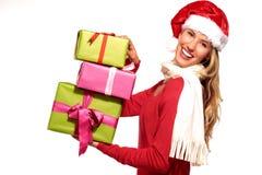 Christmas Santa hat  woman portrait hold christmas gift Royalty Free Stock Photo
