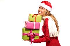 Christmas Santa hat  woman portrait hold christmas gift Royalty Free Stock Images